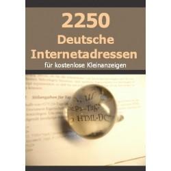 2250 Deutsche Internetadressen, für kostenlose Kleinanzeigen